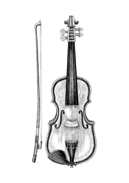 bildbanksillustrationer, clip art samt tecknat material och ikoner med violin hand skiss vintage stil - violin