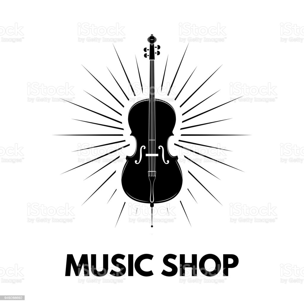 Violin icon. Beams. Music shop logo design. Music store label emblem. Musical instrument. Vector. vector art illustration