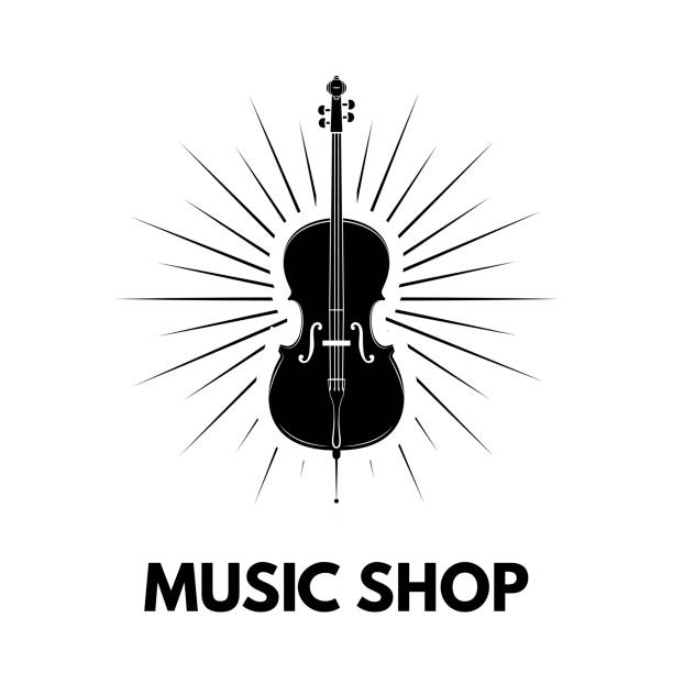 violin icon. beams. music shop logo design. music store label emblem. musical instrument. vector. - skrzypce stock illustrations