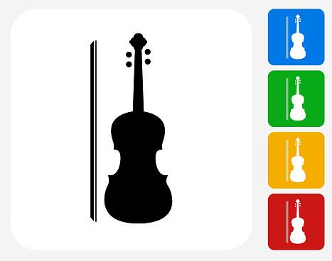 Violin Icon Flat Graphic Design
