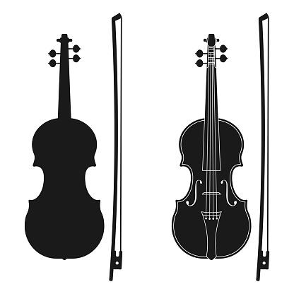 Violin icon. Music instrument silhouette. Vector illustration.
