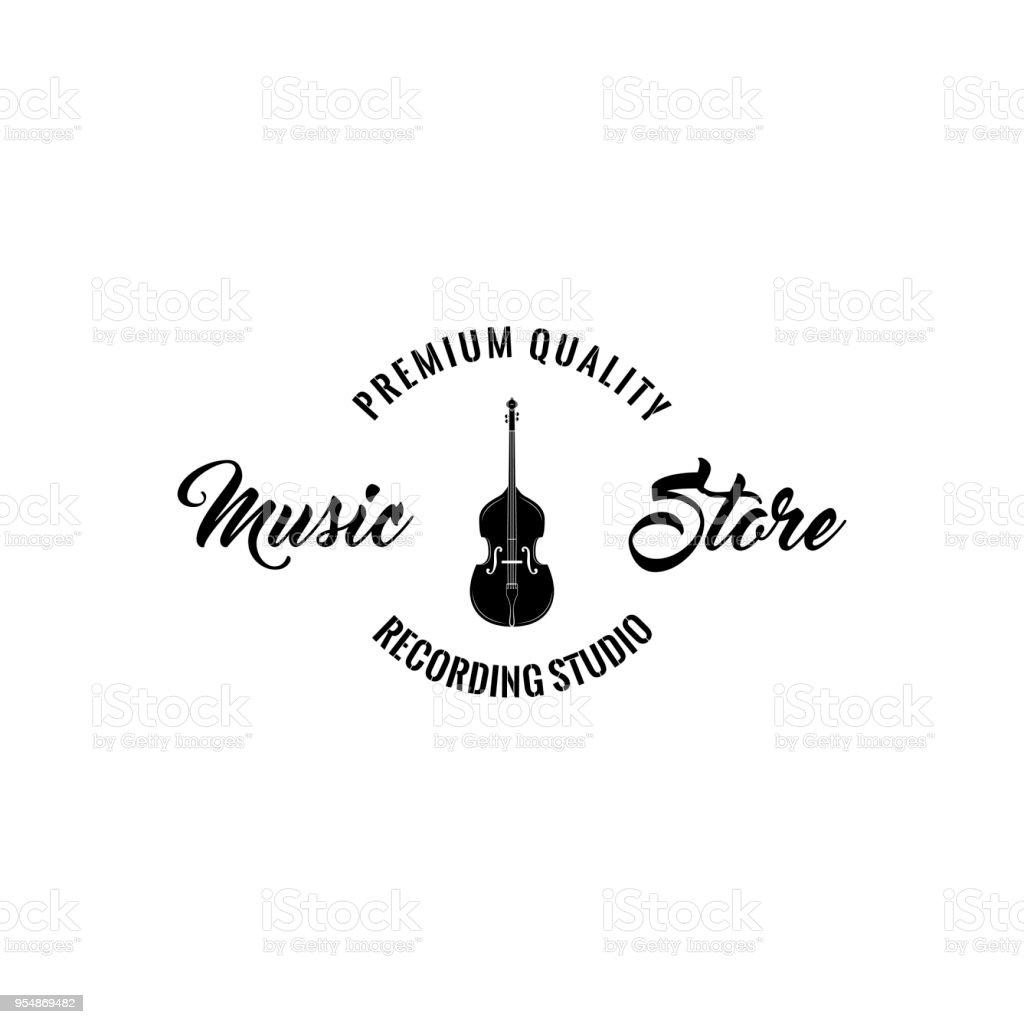 Violin Icon. Music shop badge label. Music store emblem. Recording studio. Vector. vector art illustration