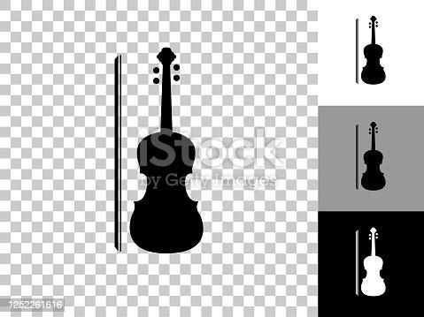 istock Violin Icon on Checkerboard Transparent Background 1252261616