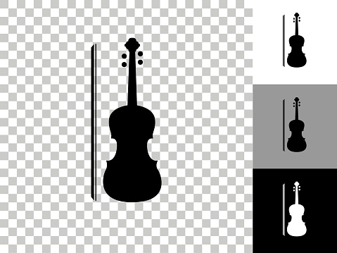 Violin Icon on Checkerboard Transparent Background. This 100% royalty free vector illustration is featuring the icon on a checkerboard pattern transparent background. There are 3 additional color variations on the right..