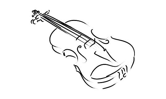 Violin Instrument Drawing Music Sign Symbol Classic