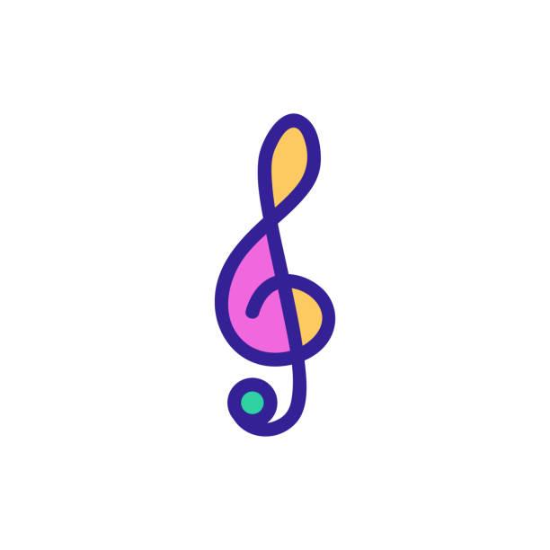 bildbanksillustrationer, clip art samt tecknat material och ikoner med violin nyckel ikon vektor. isolerad kontursymbolillustration - klassisk konsert