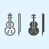 Violin line and solid icon. Classic musician instrument with bow stick. Wedding asset vector design concept, outline style pictogram on white background, use for web and app. Eps 10