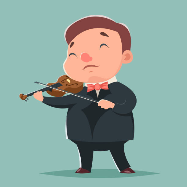 violin music artist concept character icon cartoon design template
