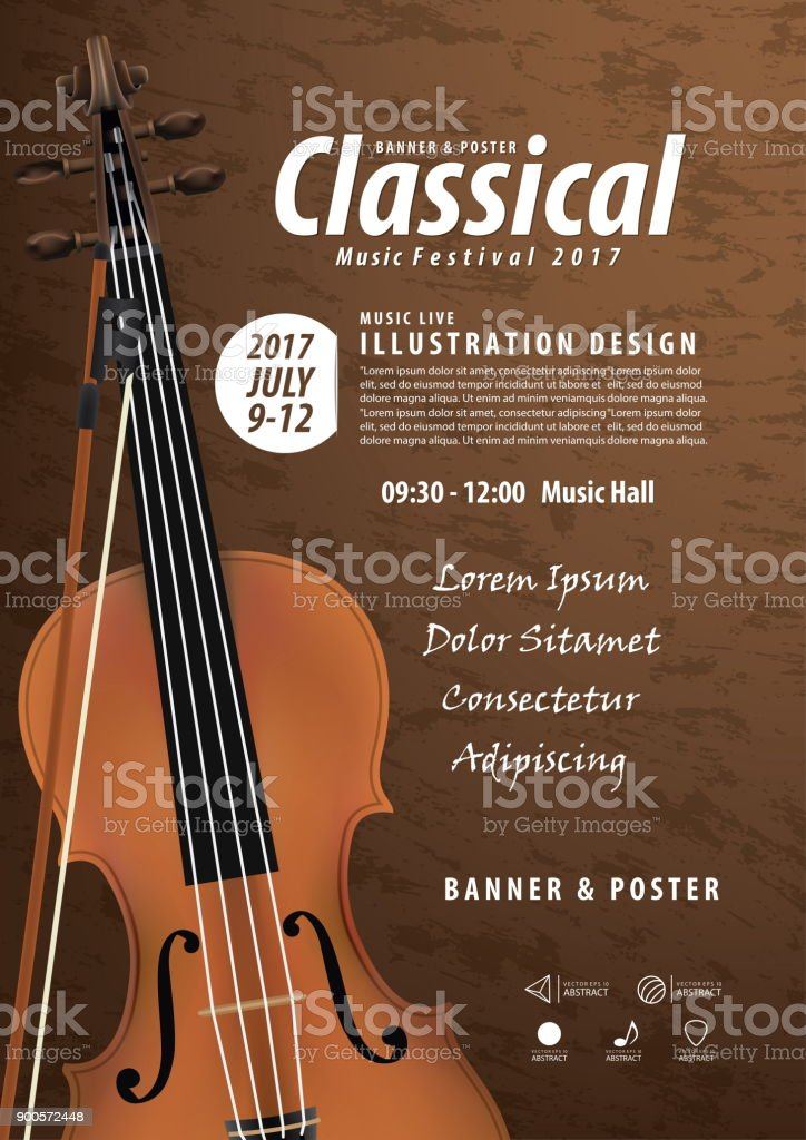 Violin, Musical instrument design realistic style and A4 poster music festival layout for commercial vector. Musical instrument and music concept. vector art illustration