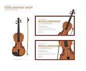 Violin, Musical instrument design realistic style and banner layout vector.