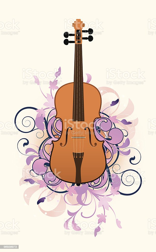 violin on a floral background royalty-free violin on a floral background stock vector art & more images of abstract