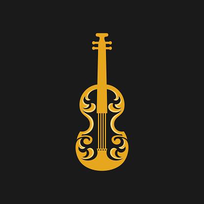 Violin Ornate Vector Logo Design