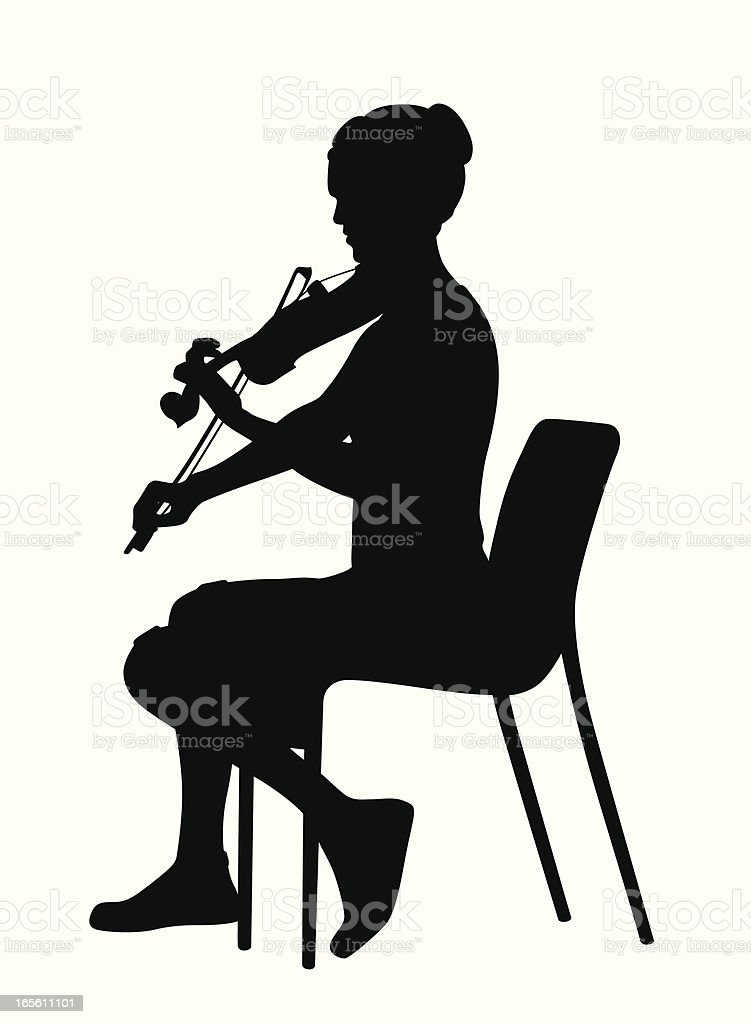 Violin Practice Vector Silhouette vector art illustration