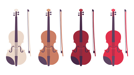 Violin set with bow, bowed stringed musical instrument set