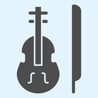 Violin solid icon. Classic musician instrument with bow stick. Wedding asset vector design concept, glyph style pictogram on white background, use for web and app. Eps 10.