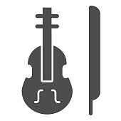 Violin solid icon. Stringed classical instrument vector illustration isolated on white. Musical instrument glyph style design, designed for web and app. Eps 10