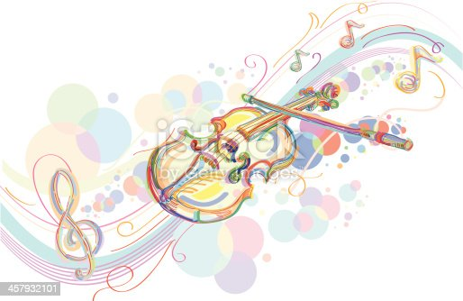 Stylized colorful violin, vector artwork