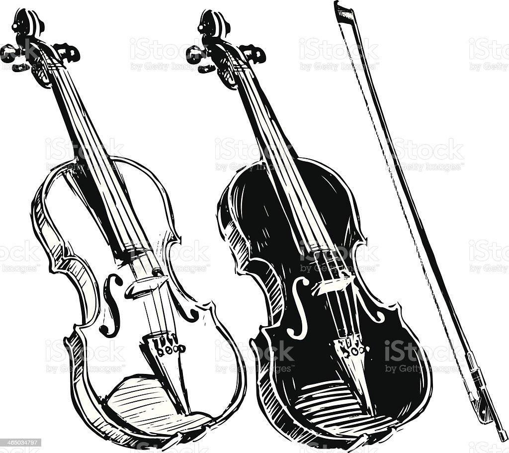 バイオリンを演奏 - いたずら書きのロイヤリティフリーベクトルアート