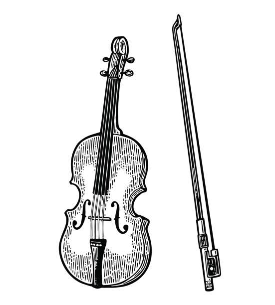 bildbanksillustrationer, clip art samt tecknat material och ikoner med violin. vintage svart gravyr illustration - violin