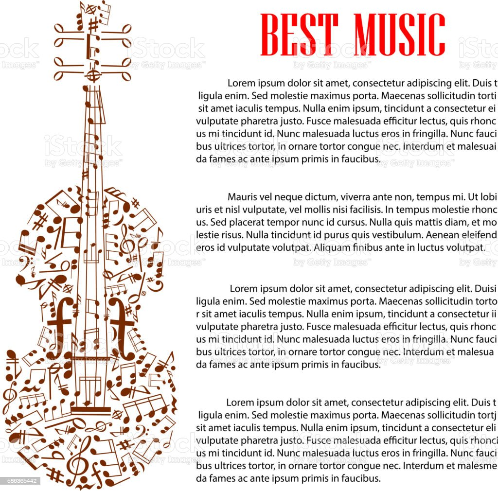 violin with musical notes for arts template design アイデアの