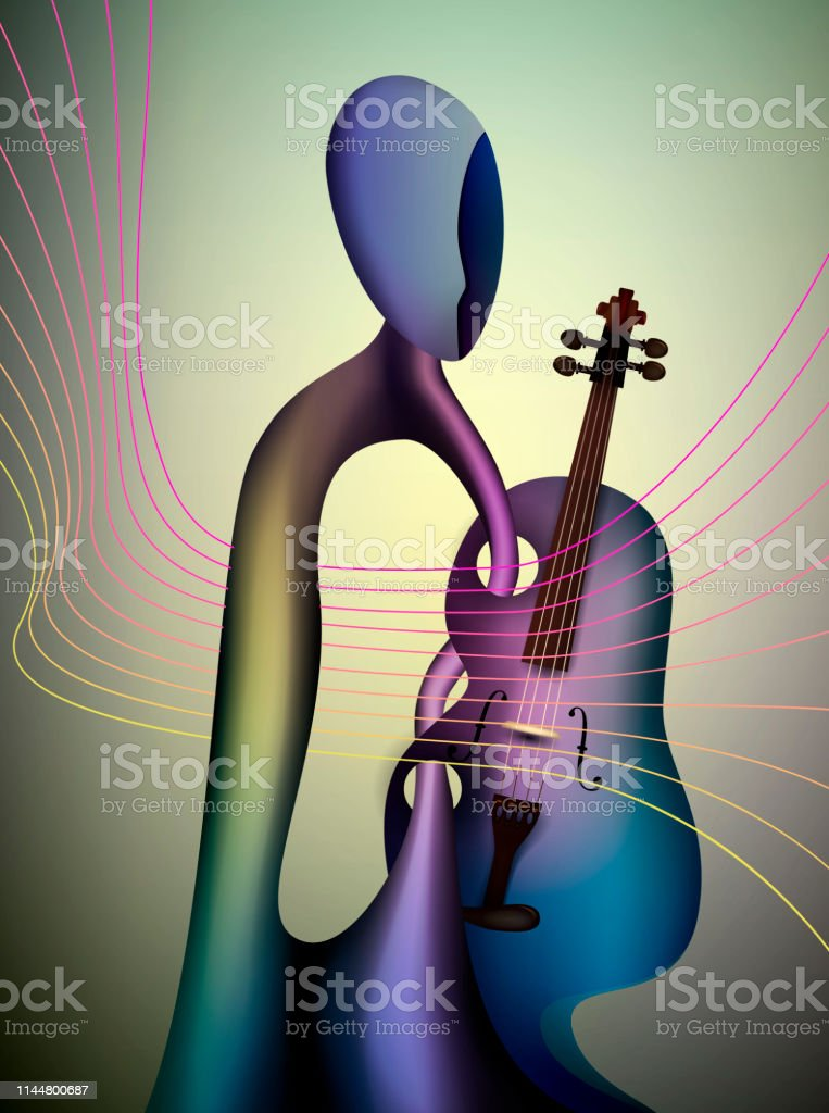 violinist concept, musician and violin contemporary art, man and...