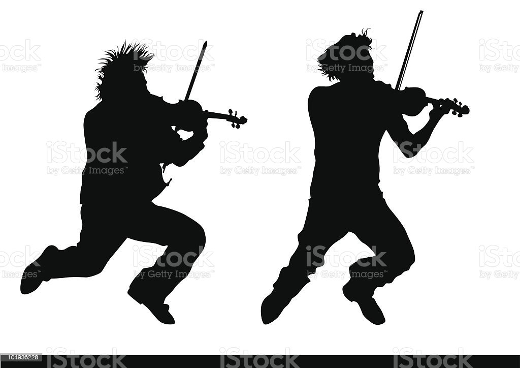 Violinist jump vector art illustration