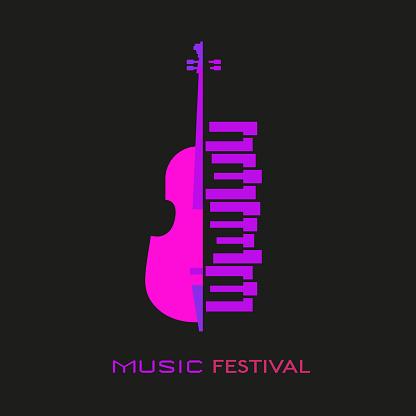 Violoncello piano flat colorful music vector icon