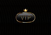 Vip black glass label with golden crown isolated on black background. Luxury template design. Vector premium icon design.