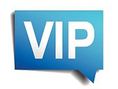 Vip blue 3d realistic paper speech bubble isolated on white