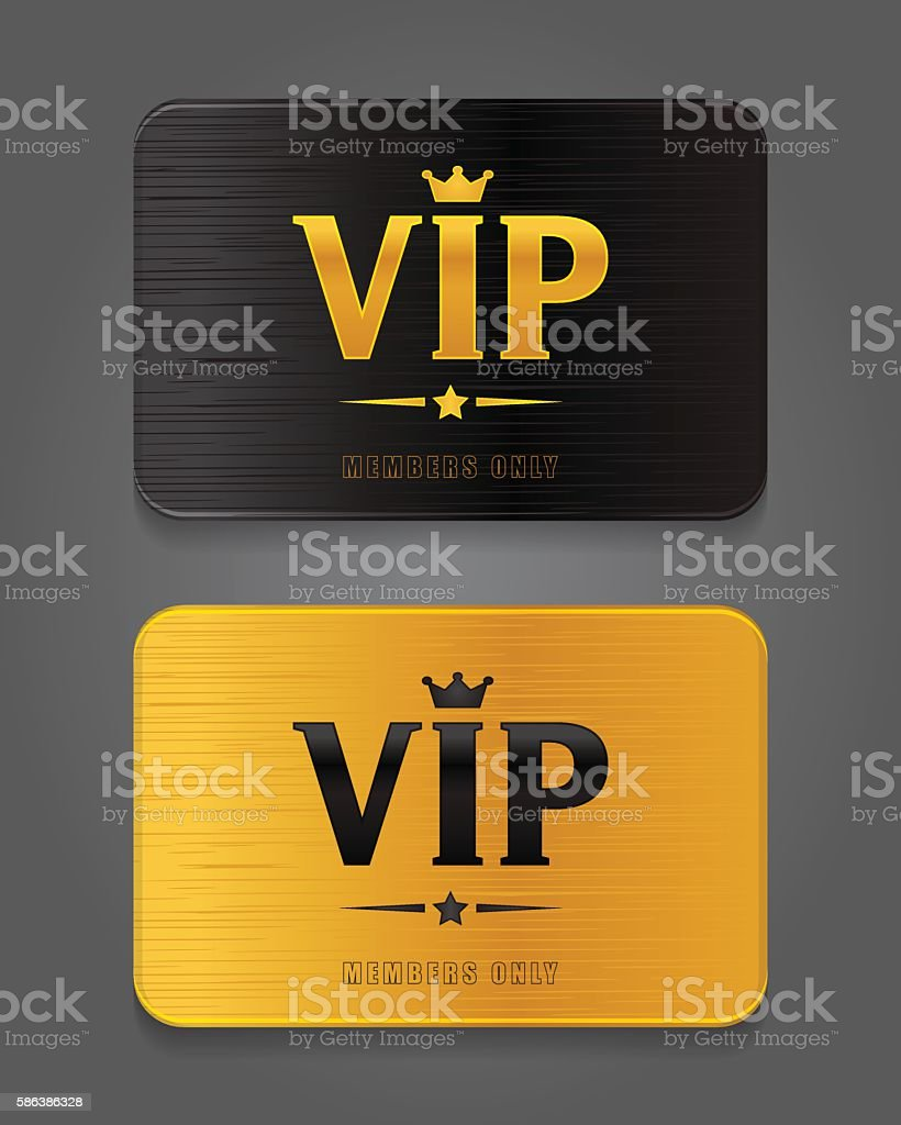 Vip Cards with metal background vector art illustration