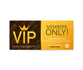 Vip club cards, Members Only Gold ribbon, label. Gold and luxury, membership icon, exclusive and priority. Vector stock illustration.