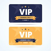Vip club cards. Members only card for casino, private club. Vector illustration in flat style.