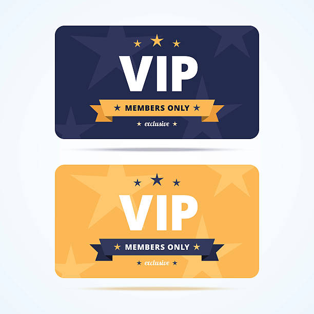 Vip club cards. Vip club cards. Members only card for casino, private club. Vector illustration in flat style. organized group stock illustrations