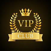 Vip club label on Black background. Vector stock illustration