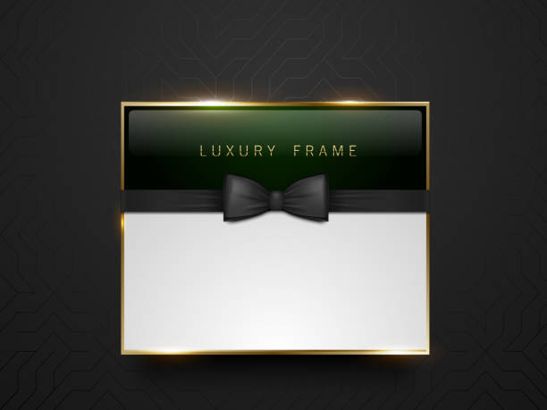 Vip dark green glass label with golden frame and black bow tie on black silk geometric background. White text place. Premium glossy template . Vector luxury illustration Vip dark green glass label with golden frame and black bow tie on black silk geometric background. White text place. Premium glossy template . Vector luxury illustration formalwear stock illustrations