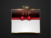 Vip dark red glass label with golden frame, crown and red bow tie on black silk geometric background. White text place. Premium glossy template . Vector luxury illustration