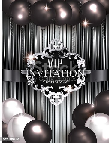 1035636416 istock photo Vip invitation banner with air balloons and vintage frame. 886198798