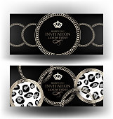 Vip invitation banners with chains. Vector illustration