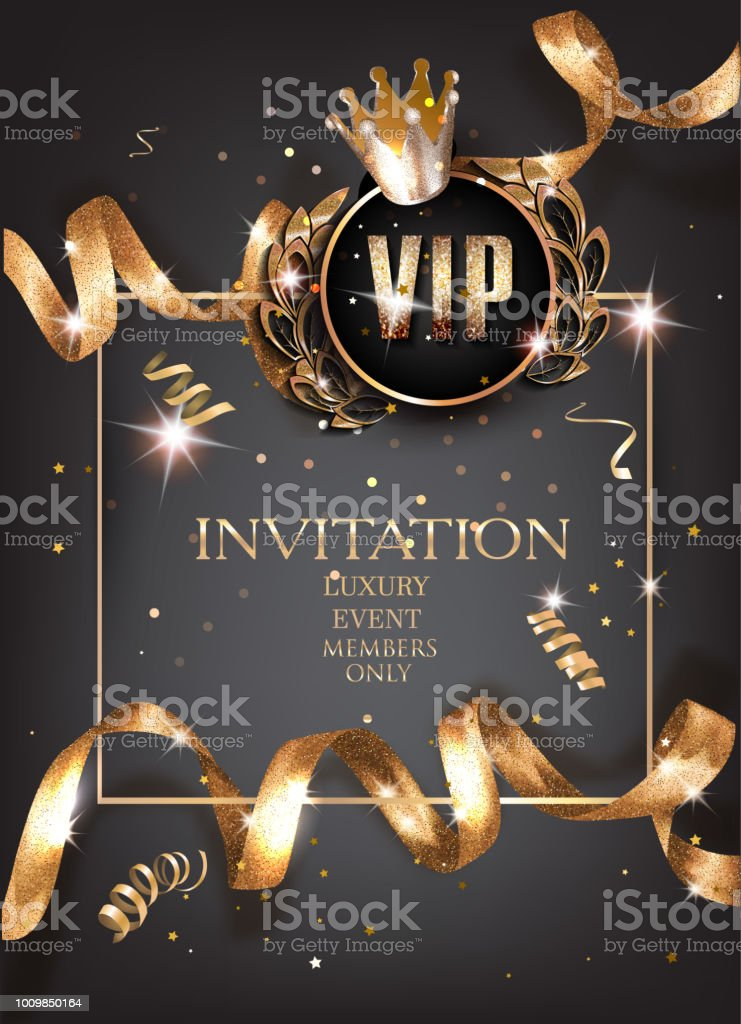Vip invitation card with curly gold sparkling ribbons and vintage elements. Vector illustration vector art illustration