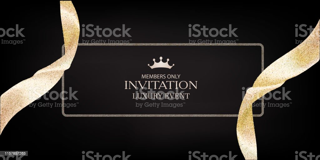 Ilustración De Tarjeta De Invitación Vip Con Cintas Doradas