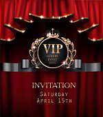 Vip invitation card with red curtains with gold sparkling rim. Vector illustration