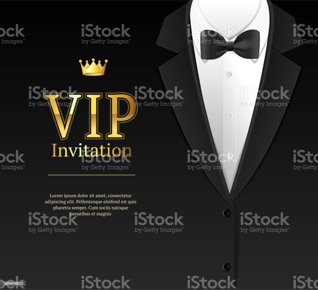 Vip Invitation with Bow Tie. Vector vector art illustration