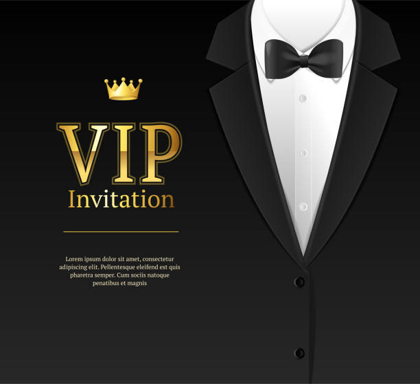 Vip Invitation with Bow Tie. Vector Vip Invitation with Bow Tie Template Card Banner for Ceremony, Party Luxury Style. Vector illustration of Bowtie Element Male Costume tuxedo stock illustrations