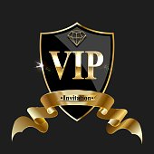 Vip invitation with shiny glowing golden crown on shield and ribbon.Vector illustration.
