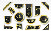 Vip label, badge or tag. Vector black banner with gold vip text. Vector illustration