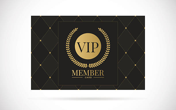 Vip member card vector design illustration Vip member card vector design with text template illustration passing giving stock illustrations