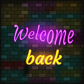 Vip Neon Icon. Cute Vip Neon Welcome Back Inscription On The Dark Brick Wall Background. Flat Style. Vector Illustration.