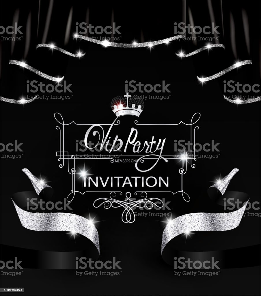 Vip party invitation card with black shiny curtains with silver vip party invitation card with black shiny curtains with silver sparkling edge vector illustration royalty stopboris Image collections