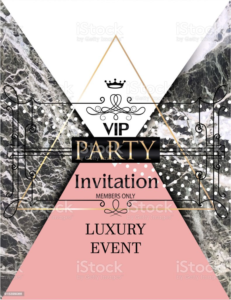 Vip Party Invitation Card With Marble Background Vector Illustration ...