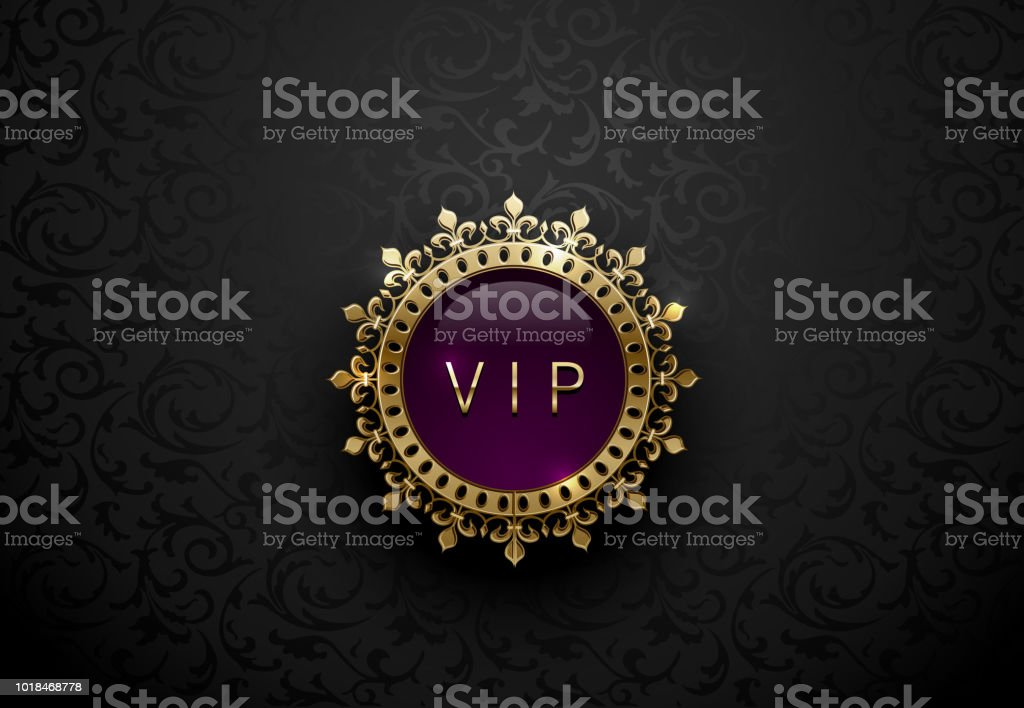 Vip Purple Label With Round Golden Ring Frame Crown On Black Floral Background Dark Glossy